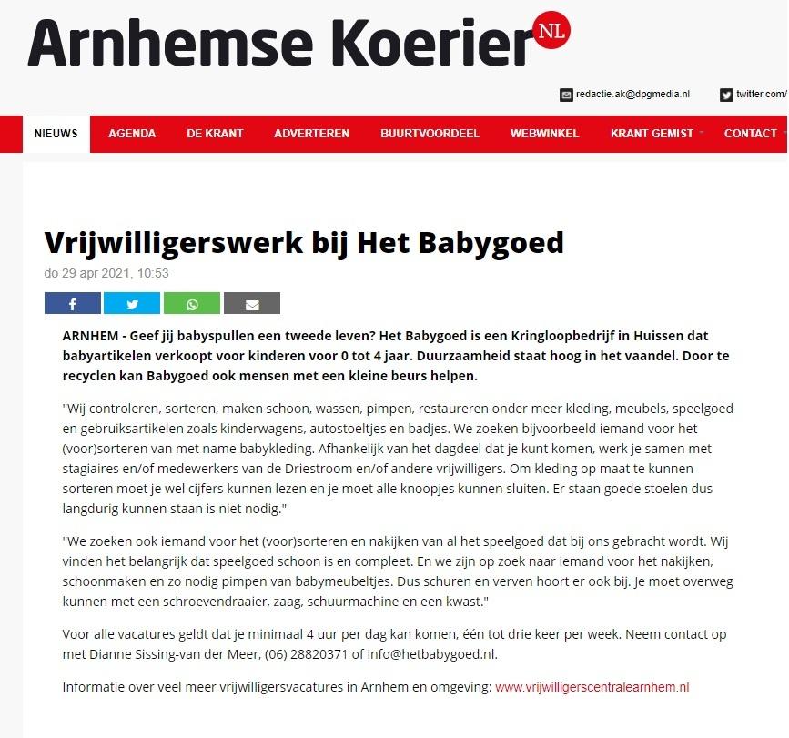 Arnhemse Koerier vrijwilligerswerk HBG